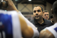Saints coach Pero Cameron during the NBL basketball match between the Wellington Saints and the Zerofees Southland Sharks at TSB Bank Arena, Wellington, New Zealand on Thursday, 22 March 2012. Photo: Dave Lintott / lintottphoto.co.nz