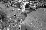 Nomads forced to move from a refugee camp to another, Sassari, Italy.<br /> Una comunità di nomadi costretti a spostarsi da un campo nomadi ad un altro, Sassari, Italia