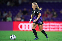 ORLANDO, FL - SEPTEMBER 11: Courtney Petersen #17 of the Orlando Pride dribbles a ball during a game between Racing Louisville FC and Orlando Pride at Exploria Stadium on September 11, 2021 in Orlando, Florida.