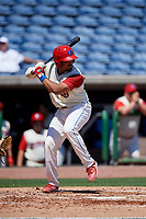 Clearwater Threshers catcher Edgar Cabral (30) at bat during a game against the Jupiter Hammerheads on April 11, 2018 at Spectrum Field in Clearwater, Florida.  Jupiter defeated Clearwater 6-4.  (Mike Janes/Four Seam Images)