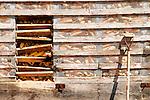 Corn Crib and shovel handle. Stoltzfus Farm, Nippenose Valley, PA.