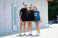 CARY, NC - SEPTEMBER 12: Casey Murphy #1, Lindsay Agnew #20, and Kaleigh Kurtz #3 of the NC Courage arrive at Sahlen's Stadium before a game between Portland Thorns FC and North Carolina Courage at WakeMed Soccer Park on September 12, 2021 in Cary, North Carolina.