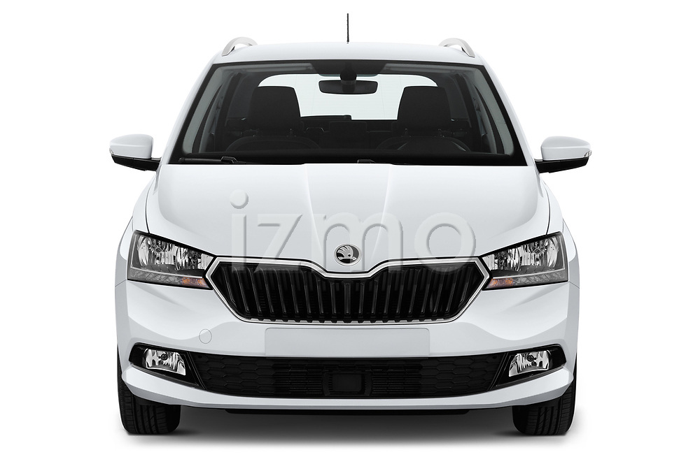 Car photography straight front view of a 2019 Skoda Fabia-Combi Ambition 5 Door Wagon Front View