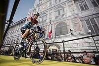 Bob Jungels (LUX/Deceuninck-Quick Step) rolling onto the spectacular start podium in the center square of the race start town of Antwerp.<br /> <br /> 103rd Ronde van Vlaanderen 2019<br /> One day race from Antwerp to Oudenaarde (BEL/270km)<br /> <br /> ©kramon