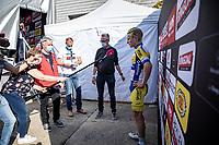 Post race intervieuw. <br /> Sasha Weemaes (BEL/Sport Vlaanderen-Baloise) wins the bunch sprint of the Heistse Pijl 2020<br /> <br /> One Day Race: Heist-op-den-Berg > Heist-op-den-Berg 190km  (UCI 1.1)<br /> ©kramon