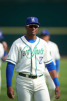 Hartford Yard Goats first baseman Correlle Prime (27) during warmups before the first game of a doubleheader against the Trenton Thunder on June 1, 2016 at Sen. Thomas J. Dodd Memorial Stadium in Norwich, Connecticut.  Trenton defeated Hartford 4-2.  (Mike Janes/Four Seam Images)