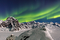 Aurora Borealis / Northern Lights over Mt. Dan Beard in the Alaska Range in the Ruth Amphitheater