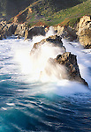 Waves crash against sea stacks, Andrew Molera State Park, California, USA