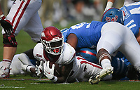 Arkansas running back Trelon Smith (22) carries the ball, Saturday, October 9, 2021 during the third quarter of a football game at Vaught Hemingway Stadium in Oxford, Miss. Check out nwaonline.com/211010Daily/ for today's photo gallery. <br /> (NWA Democrat-Gazette/Charlie Kaijo)