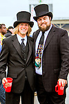 BALTIMORE, MD - MAY 21:  Dapper gentlemen partying in the infield at Pimlico Racecourse on May 21, 2016, in Baltimore, MD. (Photo by Sue Kawczynski/Eclipse Sportswire/Getty Images)
