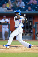 Chris Singleton (3) of the South Bend Cubs follows through on his swing against the Lansing Lugnuts at Cooley Law School Stadium on June 15, 2018 in Lansing, Michigan. The Lugnuts defeated the Cubs 6-4.  (Brian Westerholt/Four Seam Images)