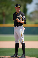 Pittsburgh Pirates Dante Mendoza (13) during a minor league Spring Training game against the Philadelphia Phillies on March 13, 2019 at Pirate City in Bradenton, Florida.  (Mike Janes/Four Seam Images)