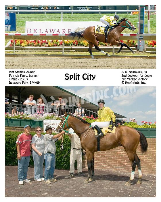Split City winning at Delaware Park on 7/4/09