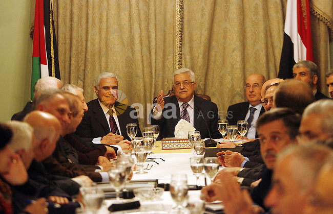 Egyptian intelligence chief Murad Muwafi, Palestinian President Mahmoud Abbas, and Hamas leader Khaled Meshaal, during a meeting between Fatah and Hamas in Cairo, Egypt, 23 February 2012. According to media reports, the leaders of the Palestinian movements Hamas and Fatah were visiting Egypt for talks on a Palestinian reconciliation deal. An agreement was sealed in Qatar earlier this month stating that current President Mahmoud Abbas will serve as Prime minister of an interim unity government between the rival groups. Photo by Osama Hamamm