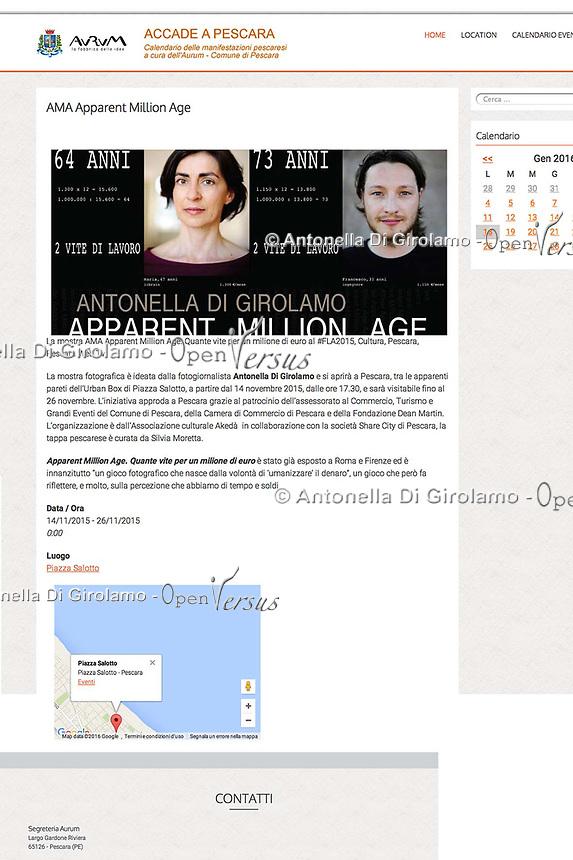 AMA-Apparent Million Age.<br /> Mostra fotografica sulla percezione del valore dei numeri, usando calcoli matematici umanizzati.<br /> <br /> http://eventi.comune.pescara.it/?event=ama-apparent-million-age<br /> <br /> http://eventi.comune.pescara.it/?event=ama-apparent-million-age