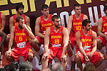 Sergio Rodriguez, Marc Gasol and Ricky Rubio during the official presentation of Spain´s basketball team for the 2014 Spain Basketball Championship in Madrid, Spain. July 24, 2014. (ALTERPHOTOS/Victor Blanco)