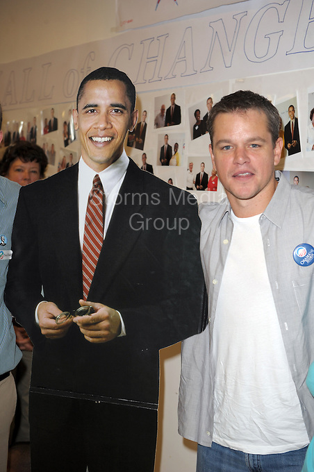 """SMG_SMG_EXC_Matt Damon_Obama_West Palm_102608_02_Matt Damon_Blasts Obama_122311_07.JPG<br /> <br /> FILE PHOTO<br /> Orig Pix Taken  SMG_Matt Damon_Mamas For Obama_102708_13 -  Miami Beach - Florida - United States Of America <br /> -----------------------------------<br /> <br /> MIAMI BEACH, FL - DECEMBER 22: (DAILY MAIL UK) Matt Damon has taken another swipe at Barack Obama and dismissed him as a 'one term President.' In his most ferocious attack to date, the Hollywood star vented his anger at the President's failure to bring about change in America. He said: 'I've talked to a lot of people who worked for Obama at the grassroots level. One of them said to me, """"Never again. I will never be fooled again by a politician"""".'  'You know, a one-term president with some balls who actually got stuff done would have been, in the long run of the country, much better.'  His latest attack was made in an interview for Elle magazine to promote his new film We Bought a Zoo.  Damon, 41,was one of the biggest Hollywood stars to stump for Obama during his 2008 election campaign. He attended fund raising events and was vocal in his support for the Democrat who was elected on a mandate of 'change' and 'hope'. But over the last year the Bourne Identity star has changed his opinion - and been more than happy to publicise his disenchantment.  <br /> <br /> In March, he criticized Obama's education policy,saying 'I really think he misinterpreted his mandate.   'A friend of mine said to me the other day, I thought it was a great line, """"I no longer hope for audacity."""" He's doubled down on a lot of things.'  President Obama even mentioned Damon's change of heart during this year's White House Correspondent's Ball. He said: 'I've even let down my key core constituency: movie stars. Just the other day, Matt Damon - I love Matt Damon, love the guy - Matt Damon said he was disappointed in my performance. Well, Matt, I just saw The Adjustment Bureau, so - right back at-cha, buddy. . on December """