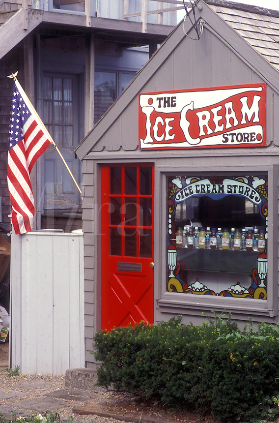 Rockport, Massachusetts, Ice cream shop in Historic Rockport. American flag on the wall.