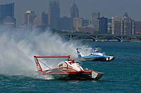 "(L) David Williams, U-1 ""Miss Budweiser"" (1980 Rolls-Royce Griffon powered Ron Joes hull) and Chip Hanauer, U-00 ""Atlas Van Lines"" (1982 Rolls-Royce powered Lucero hull)."