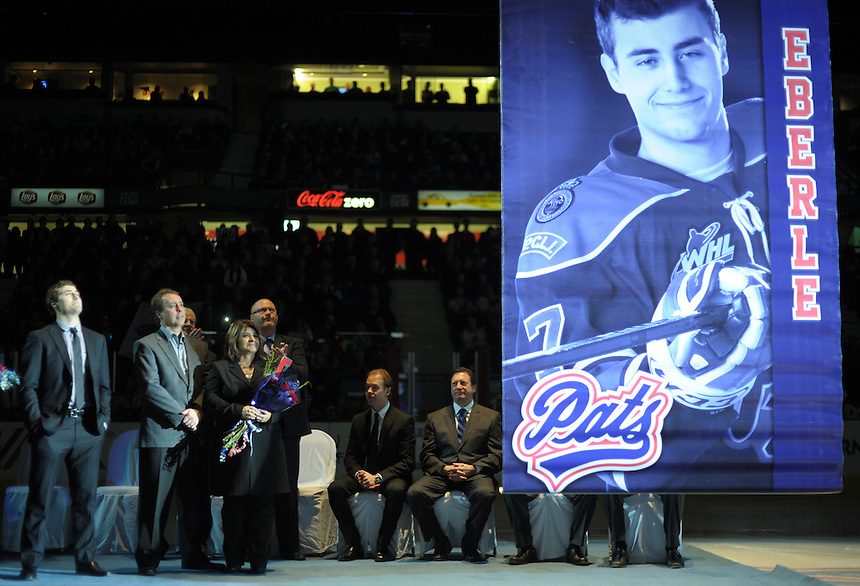 Jordan Eberle looks on as his retired jersey rises to the rafters during a ceremony at the Brandt Centre, home of his former team, the WHL's Regina Pats. MARK TAYLOR GALLERY