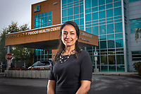 2020 Alumni Humanitarian Ghazal Ringler photographed outside Anchorage Neighborhood Health Center.
