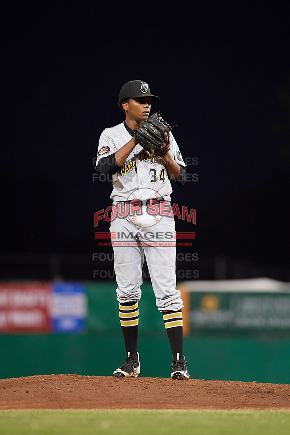 West Virginia Black Bears relief pitcher Francis Del Orbe (34) looks in for the sign during a game against the Batavia Muckdogs on June 18, 2018 at Dwyer Stadium in Batavia, New York.  Batavia defeated West Virginia 9-6.  (Mike Janes/Four Seam Images)