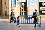 A couple walks around Caceres downtown during the first day of liftning of the confinement restrictions in Caceres, Extremadura. 02 May 2020(Alterphotos/Francis Gonzalez)