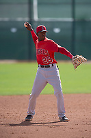 Los Angeles Angels shortstop Daniel Ozoria (23) during a Minor League Spring Training game against the Cincinnati Reds at the Cincinnati Reds Training Complex on March 15, 2018 in Goodyear, Arizona. (Zachary Lucy/Four Seam Images)