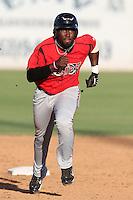 Lake Elsinore Storm third baseman Edinson Rincon #16 runs the bases against the Lancaster JetHawks at Clear Channel Stadium on September 5, 2011 in Lancaster,California. Lake Elsinore defeated Lancaster 11-2.(Larry Goren/Four Seam Images)