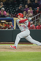 Stephen Piscotty (22) of the Memphis Redbirds at bat against the Omaha Storm Chasers in Pacific Coast League action at Werner Park on April 24, 2015 in Papillion, Nebraska.  (Stephen Smith/Four Seam Images)