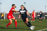 Sky Blue FC defender Kendall Johnson (5) is defended by Western New York Flash midfielder Veronica Perez (17). Sky Blue FC defeated the Western New York Flash 1-0 during a National Women's Soccer League (NWSL) match at Yurcak Field in Piscataway, NJ, on April 14, 2013.