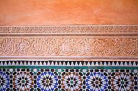 Mosaic detail inside Medersa Ben Youssef, Marrakech, Morocco