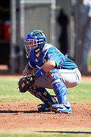 Kansas City Royals minor league catcher Chad Johnson #7 during an instructional league game against the Seattle Mariners at the Peoria Sports Complex on October 2, 2012 in Peoria, Arizona. (Mike Janes/Four Seam Images)