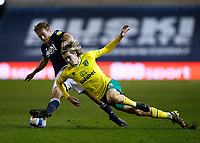 2nd February 2021; The Den, Bermondsey, London, England; English Championship Football, Millwall Football Club versus Norwich City; Maikel Kieftenbeld of Millwall challenges Todd Cantwell of Norwich City
