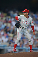 Jamie Moyer of the Philadelphia Phillies during a game against the Los Angeles Dodgers in a 2007 MLB season game at Dodger Stadium in Los Angeles, California. (Larry Goren/Four Seam Images)
