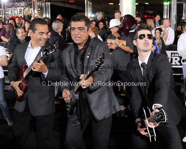 Antonio Villaraigosa,Robin Thicke and George Lopez at The Hard Rock Cafe Hollywood's grand opening party in Hollywood, California on October 21,2010                                                                               © 2010 Hollywood Press Agency