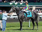 April 19, 2014 Frac Daddy and Alan Garcia in the winners circle after winning the Ben Ali Stakes