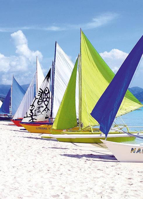 Beach scene at Boracay Island, Sail Boats, Philippines