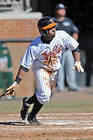Tennessee Volunteers left fielder Christin Stewart #20 swings at a pitch during a game against the UNLV Runnin' Rebels at Lindsey Nelson Stadium on February 22, 2014 in Knoxville, Tennessee. The Volunteers defeated the Rebels 5-4. (Tony Farlow/Four Seam Images)