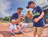 4 September 2017: Vermont Lake Monsters catcher Jarrett Costa signs autographs prior to the first game of a double-header against the Tri-City ValleyCats at Centennial Field in Burlington, Vermont. The teams split their day, with Tri-City winning 6-5 in the first game, and the Lake Monsters taking the second 7-4 in NY Penn League action. Mandatory Credit: Ed Wolfstein Photo *** RAW (NEF) Image File Available ***