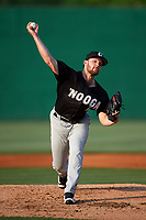 Chattanooga Lookouts pitcher Kohl Stewart (13) delivers a warmup pitch during a game against the Jackson Generals on April 29, 2017 at The Ballpark at Jackson in Jackson, Tennessee.  Jackson defeated Chattanooga 7-4.  (Mike Janes/Four Seam Images)
