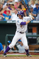 LSU Tigers outfielder Andrew Stevenson #6 bats during Game 4 of the 2013 Men's College World Series between the LSU Tigers and UCLA Bruins at TD Ameritrade Park on June 16, 2013 in Omaha, Nebraska. The Bruins defeated the Tigers 2-1. (Brace Hemmelgarn/Four Seam Images)