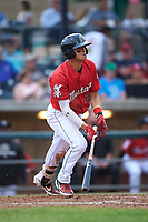 Billings Mustangs Victor Ruiz (26) starts running toward first base during a Pioneer League game against the Grand Junction Rockies at Dehler Park on August 14, 2019 in Billings, Montana. Grand Junction defeated Billings 8-5. (Zachary Lucy/Four Seam Images)