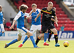 St Johnstone v Partick Thistle…19.08.17… McDiarmid Park… SPFL<br />Chris Erskine is closed down by Murray Davidson and David Wotherspoon<br />Picture by Graeme Hart.<br />Copyright Perthshire Picture Agency<br />Tel: 01738 623350  Mobile: 07990 594431