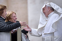 Pope Francis  during his weekly general audience in St. Peter square at the Vatican, Wednesday.March 16, 2016.
