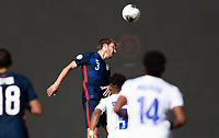 GUADALAJARA, MEXICO - MARCH 28: Henry Kessler #3 of the United States with a clearing head ball during a game between Honduras and USMNT U-23 at Estadio Jalisco on March 28, 2021 in Guadalajara, Mexico.