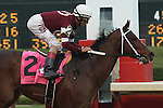 April 10, 2015: Jockey John Velazquez aboard Untapable crossing the finish line in the Apple Blossom Handicap at Oaklawn Park in Hot Springs, AR. Justin Manning/ESW/CSM