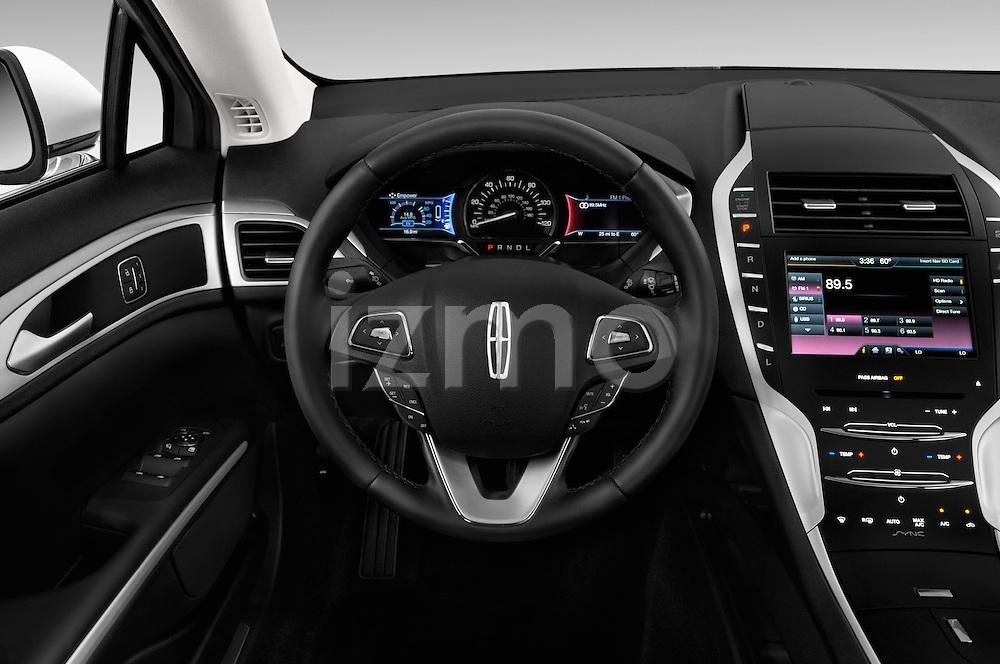 Car pictures of steering wheel view of a 2016 Lincoln MKZ Hybrid 4 Door Sedan Steering Wheel