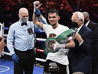 LAS VEGAS, NV - AUG 21: Carlos Castro after defeating Óscar Escandón on the Fox Sports PBC pay-per-view fight night at the T-Mobile Arena on August 21, 2021 in Las Vegas, Nevada (Photo by Scott Kirkland/Fox Sports/PictureGroup)