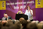 © Joel Goodman - 07973 332324 . 24/04/2014 . Manchester , UK . UKIP MEP Candidate , LOUISE BOURS , addresses a UKIP conference rally at the Free Trade Hall in Manchester . Photo credit : Joel Goodman